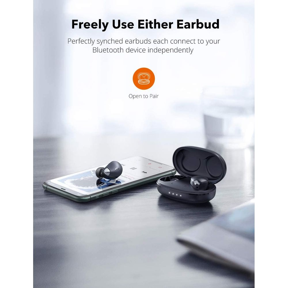 Freely use either earbud.